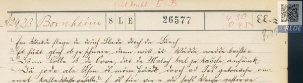 Scan: Ausschnitt aus einem Fragebogen, den sogenannten Wenkerbögen, handbeschriftet
